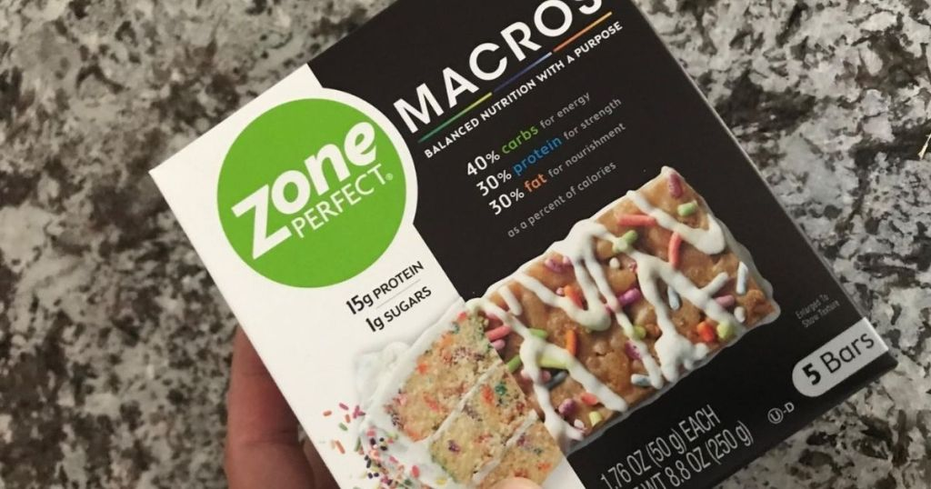 ZonePerfect Birthday Cake Protein Bars box on marble surface