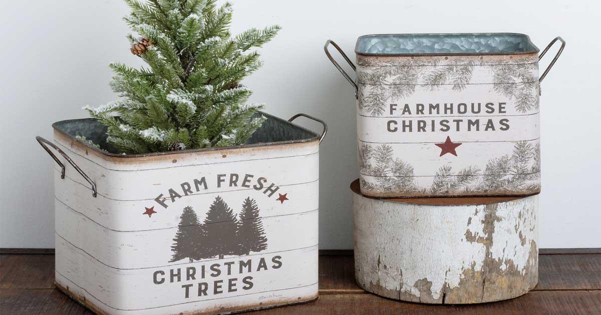 christmas bins with tree on table