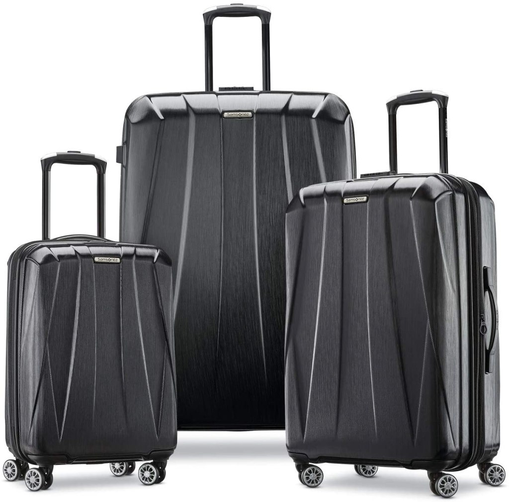 3-piece samsonite luggage in black