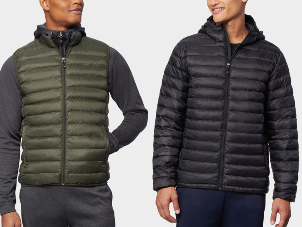 2 men standing next to each other one wearing a puffer vest and the other wearing a black puffer coat