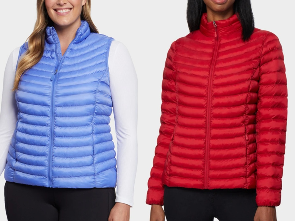 2 women standing next to each other wearing 32 degrees vest and jackets
