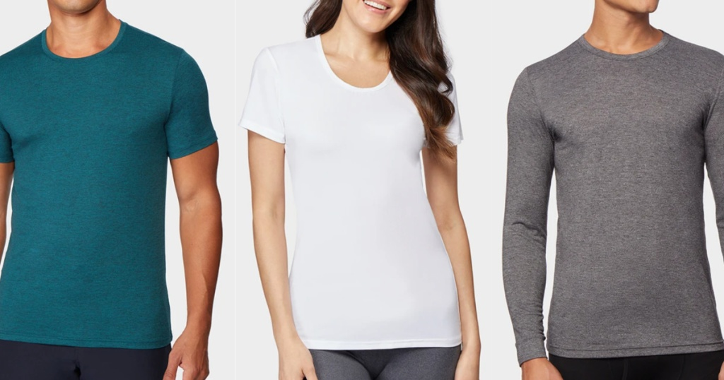 woman wearing a white t shirt standing in between to mean in cool t shirts