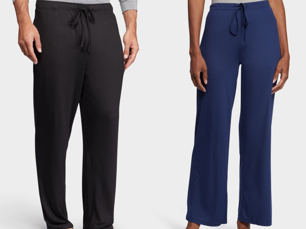 2 people wearing comfy sleep pants standing next to each other