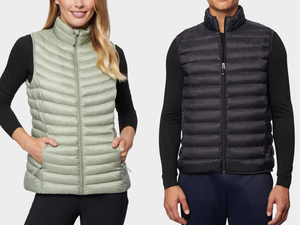 man and a woman wearing lightweight packable vets