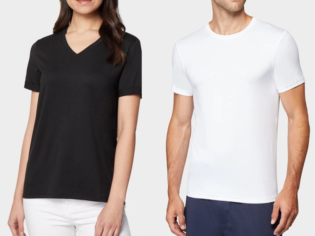 a man and woman wearing 32 degrees t-shirts