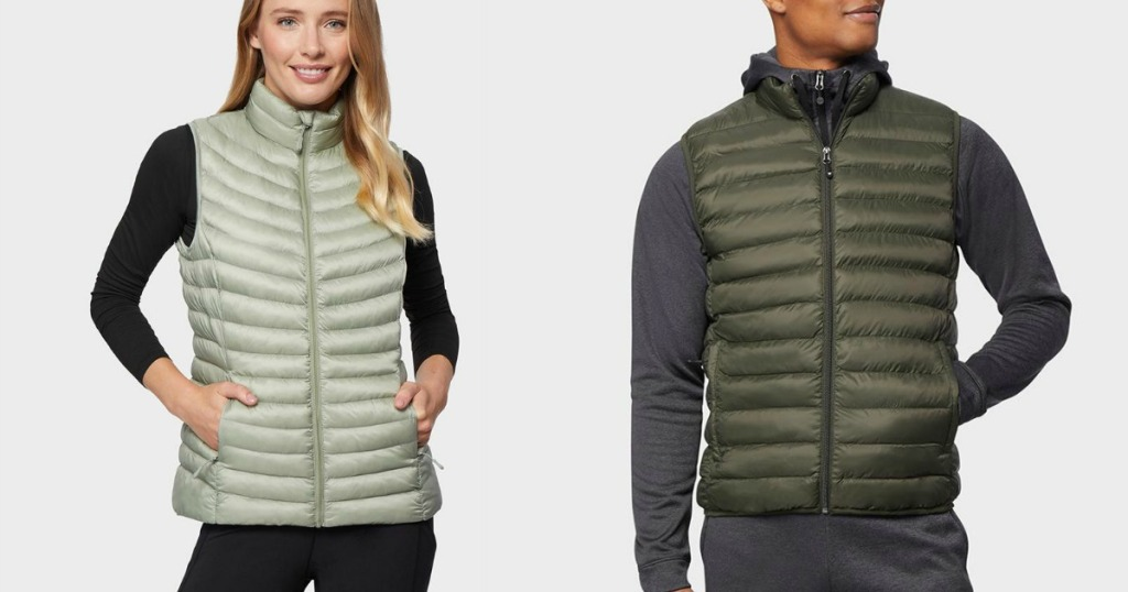 man and a woman wearing 32 degrees packable vests