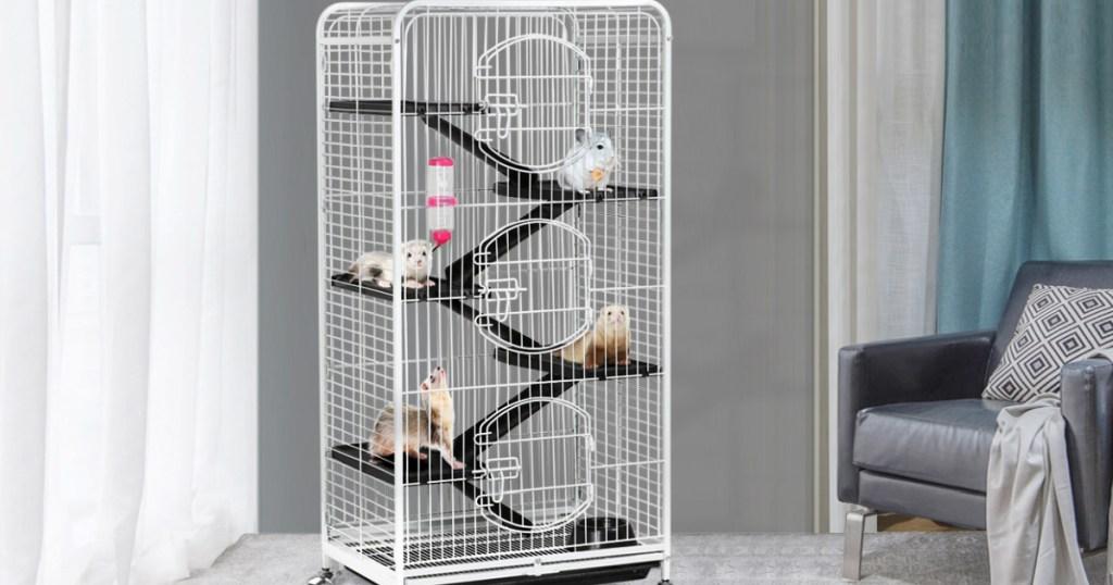 6-Level Rolling Large Ferret Cage Bundle
