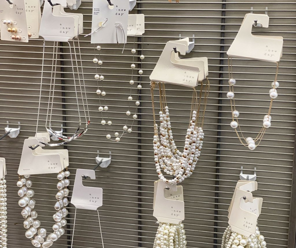 display of necklaces by A New Day at Target