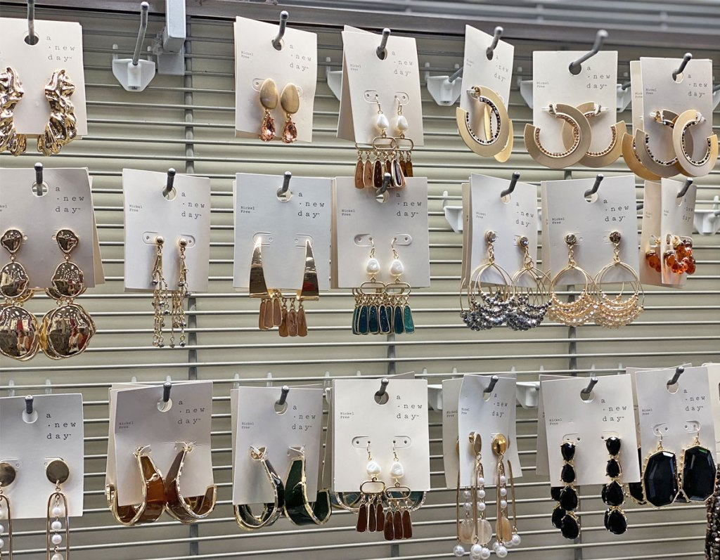 display of statement earrings by A New Day at Target