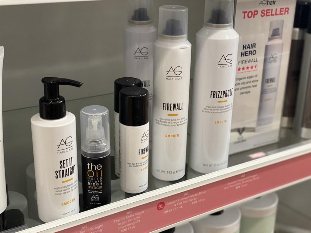 AG Hair care products on shelf at ulta including hair spray, straighter balm
