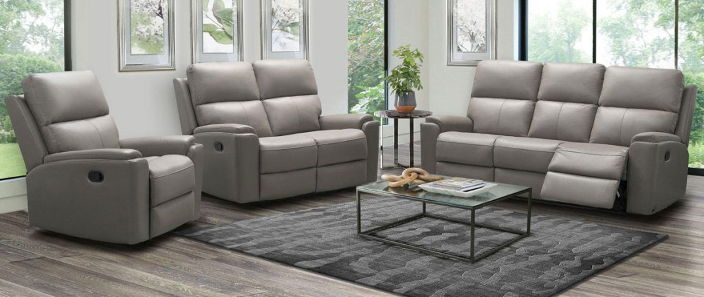 gray leather 3-piece matching living room set