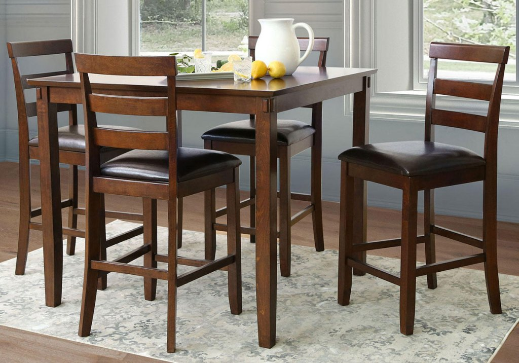brown counter-height 5-piece dining set