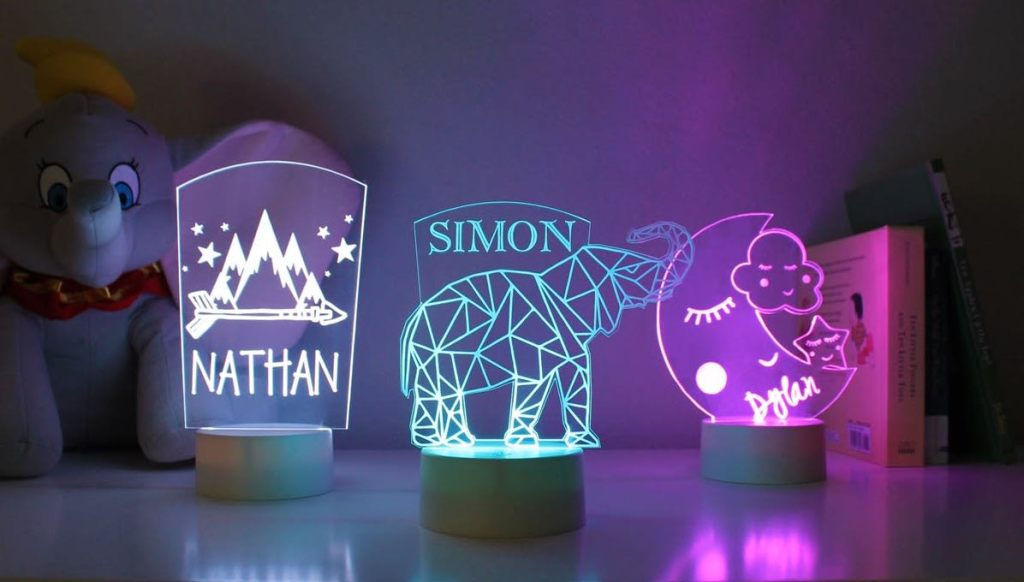Acrylic Personalized Nightlights on table