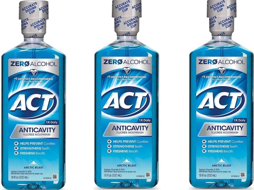Three Bottles of ACT Arctic Blast Mouthwash