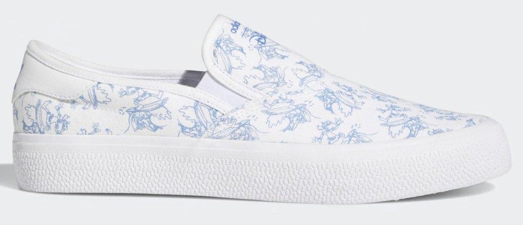 white slip on sneaker with blue disney goofy print all over
