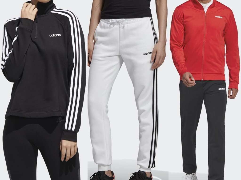 woman in black sport jacket, woman in white joggers, and man in red and black track suit
