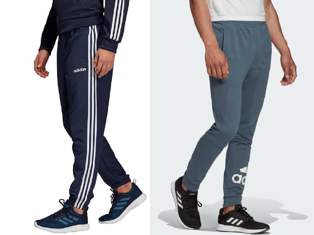 man in dark blue pants and man in grayish-blue pants