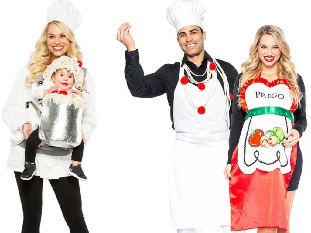Adults dressed in Halloween Costumes as Chefs with Baby and Woman as a Prego Halloween Sauce