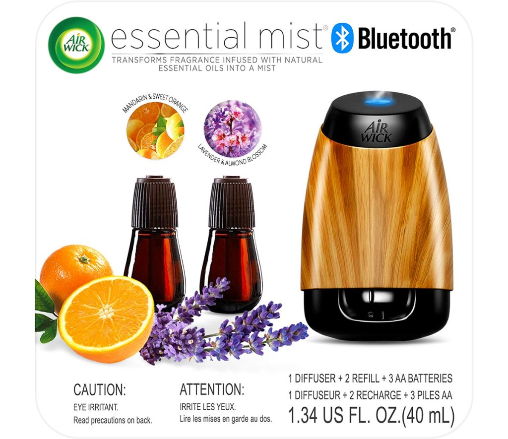 Air Wick Bluetooth essential oil diffuser and two bottles of essential oils in lavender & almond blossom and mandarin & sweet orange scents