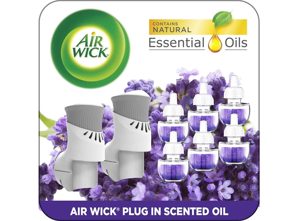 two Air Wick Plug-In warmers, and 6 scented oil refills in lavender & chamomile scent