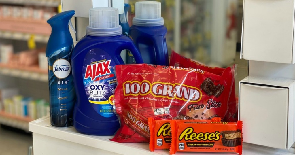 Ajax Febreze and Halloween candy on a countertop