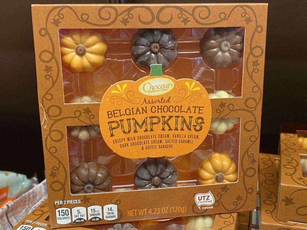 Box of chocolate shaped pumpkins