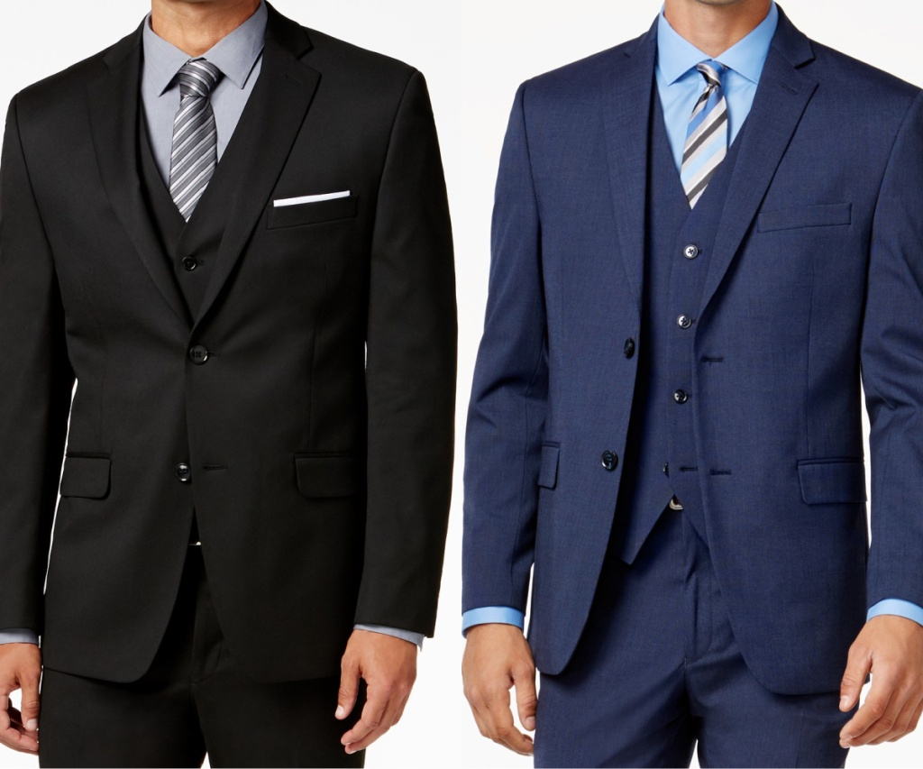 man in black dress jacket and man in blue dress jacket