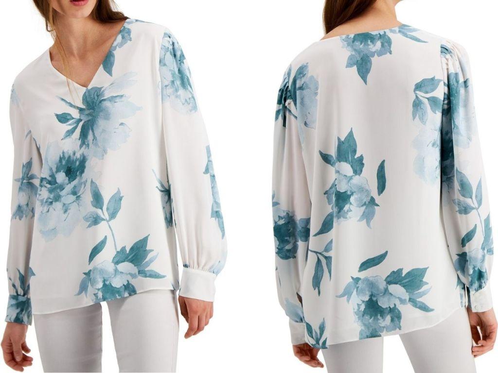 Alfani Floral Womens Long Sleeve SHirt