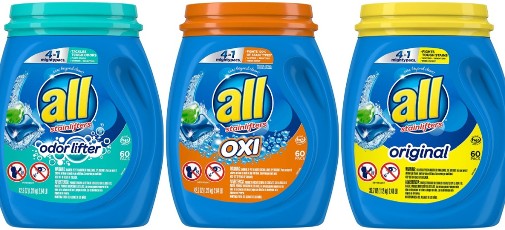 three tubs of laundry detergent pacs