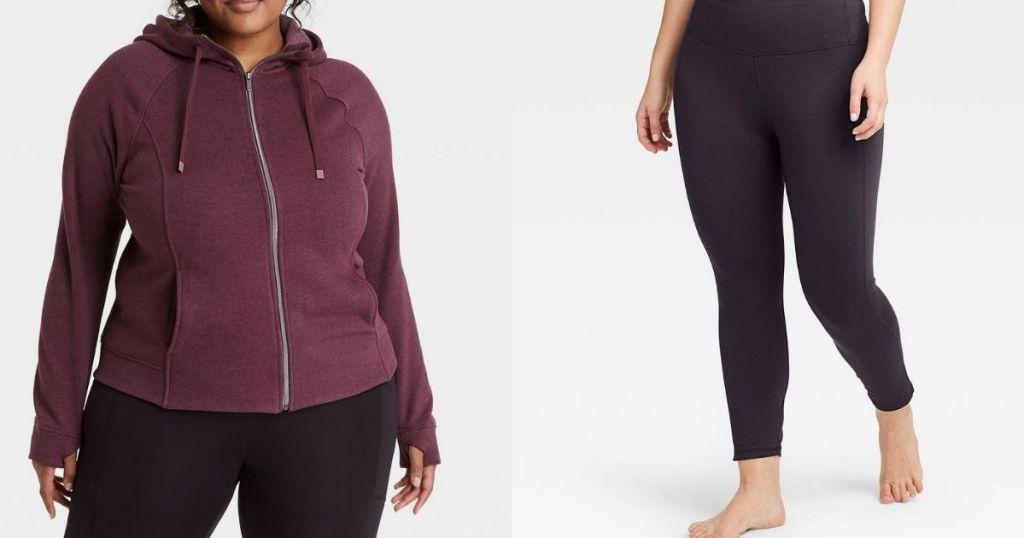 woman wearing a sweatshirt next to woman wearing leggings