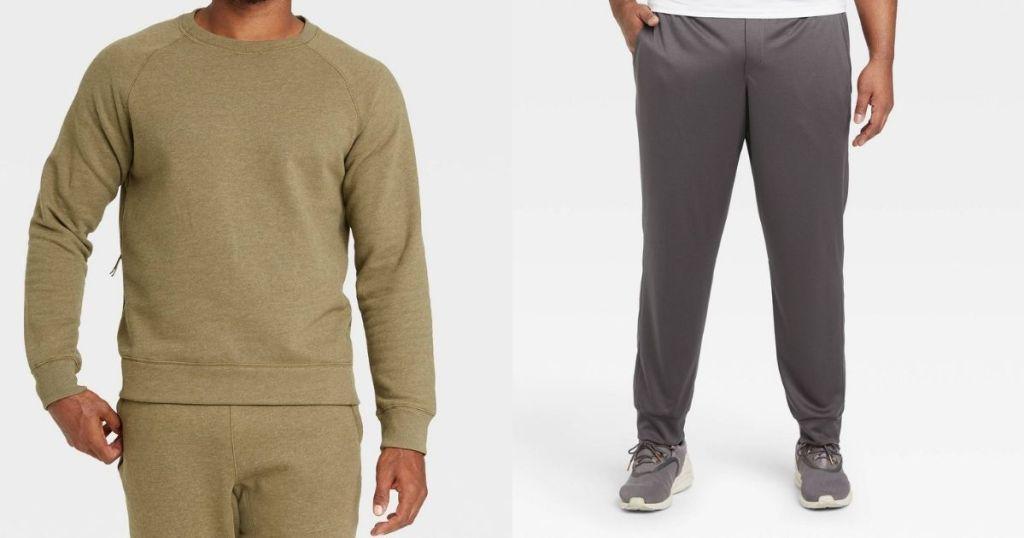 man wearing a sweatshirt next to a man in sweatpants