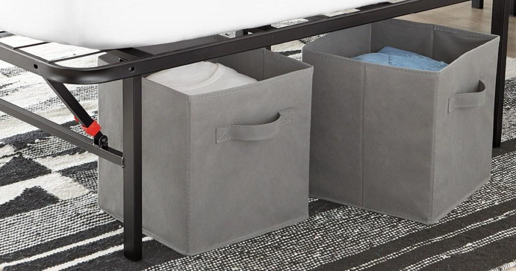 Amazon Basic Storage Cubes under a bed