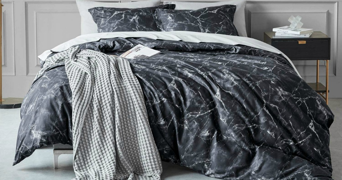 Large dark marble comforter set