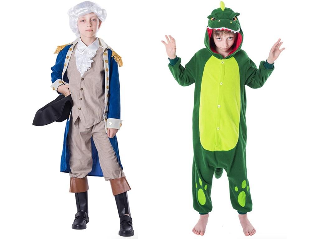 Boy wearing a george washington costume standing next to a boy wearing a green dinosaur onesie