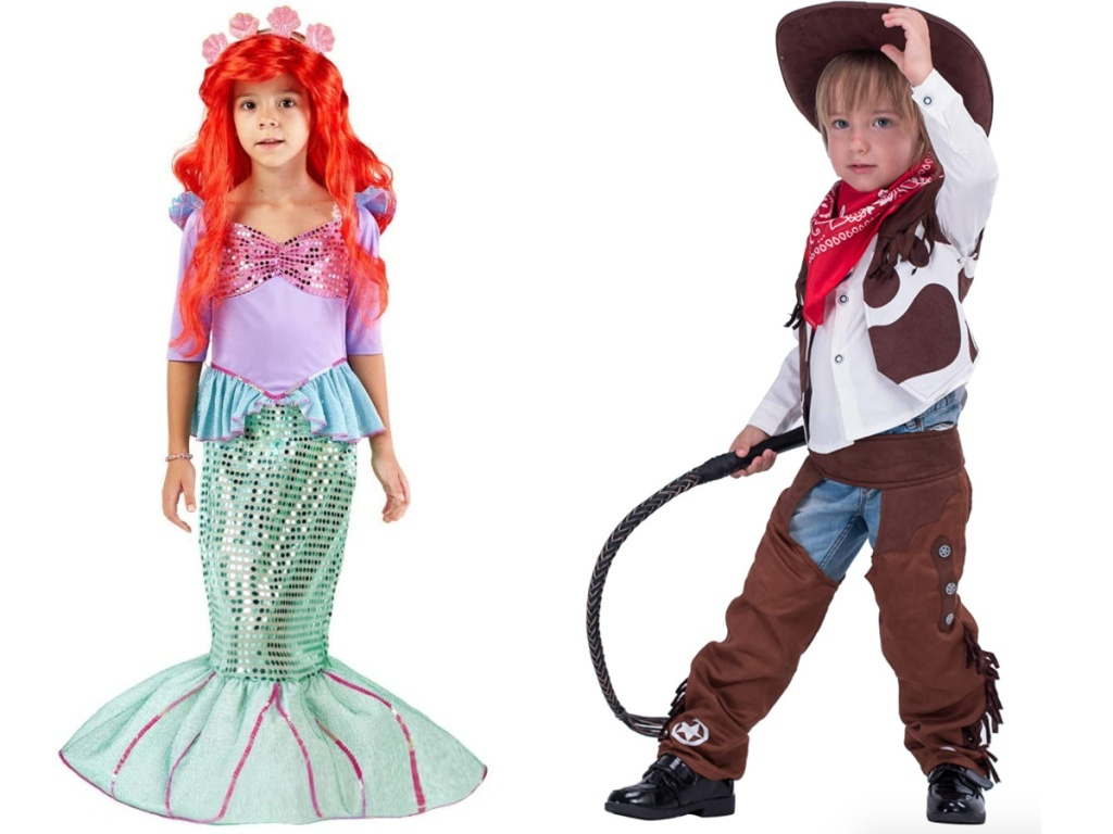 little girl wearing a mermaid costume next to a boy wearing a cowboy costume