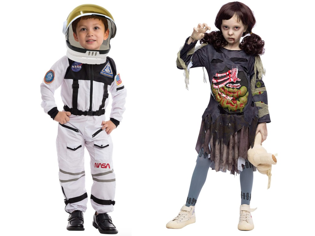 girl wearing a zombie costume with white face makeup and a boy wearing an astronaut costume