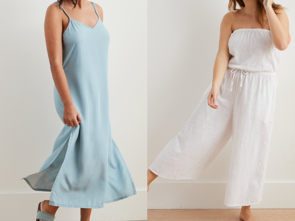 woman in light blue slip dress and woman in white strapless jumpsuit