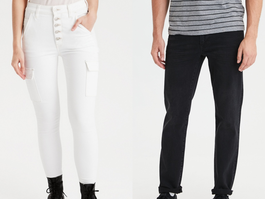 woman in white jeans and man in black jeans