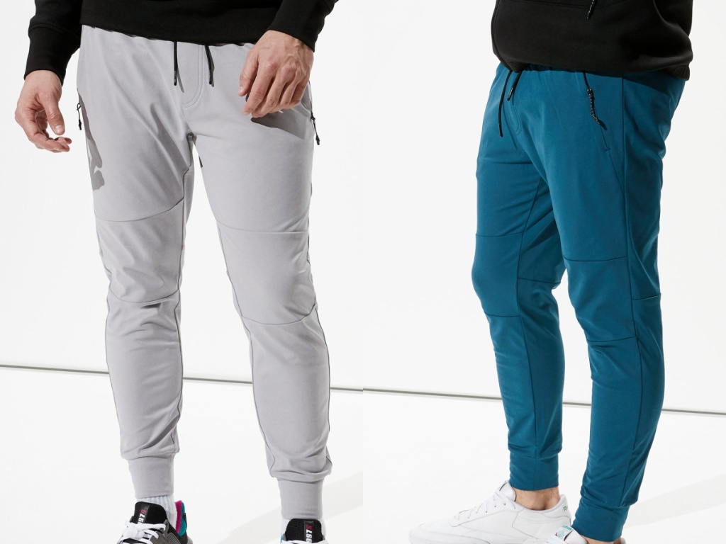 man in gray joggers and man in teal blue joggers