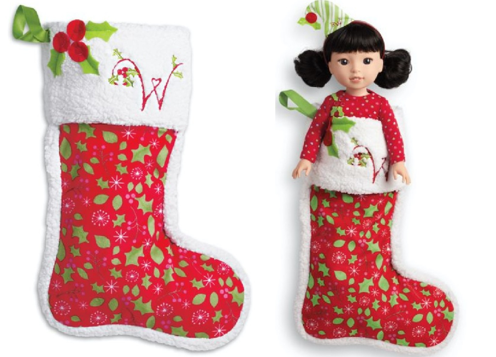 Christmas stocking and doll in Christmas stocking