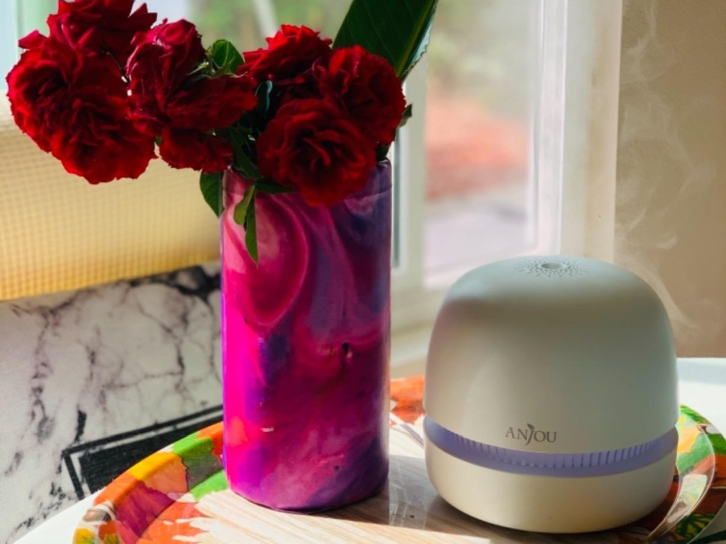Anjou 300ml Ultrasonic Essential Oil Diffuser with flowers in vase