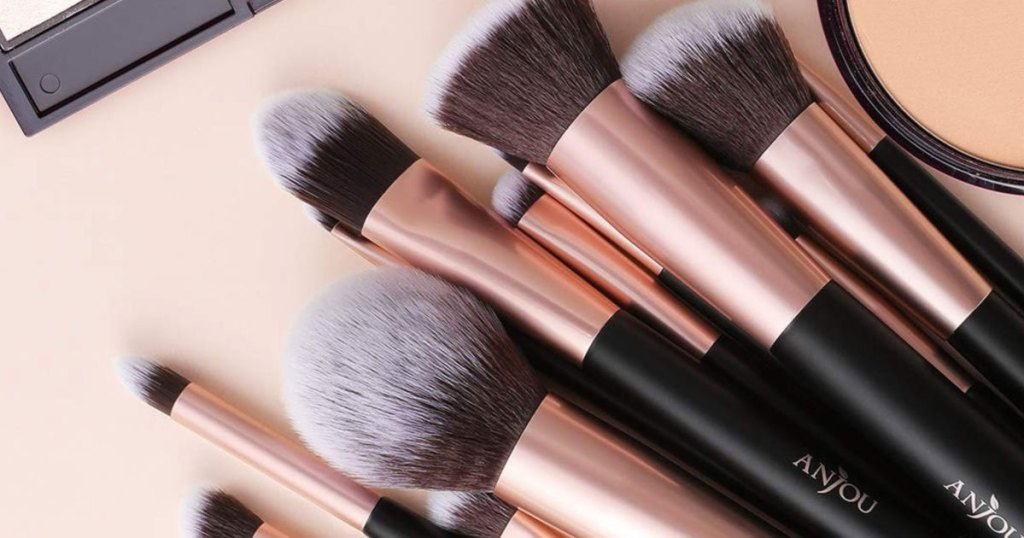 set of makeup brushes with rose gold ferrule and matte black handle