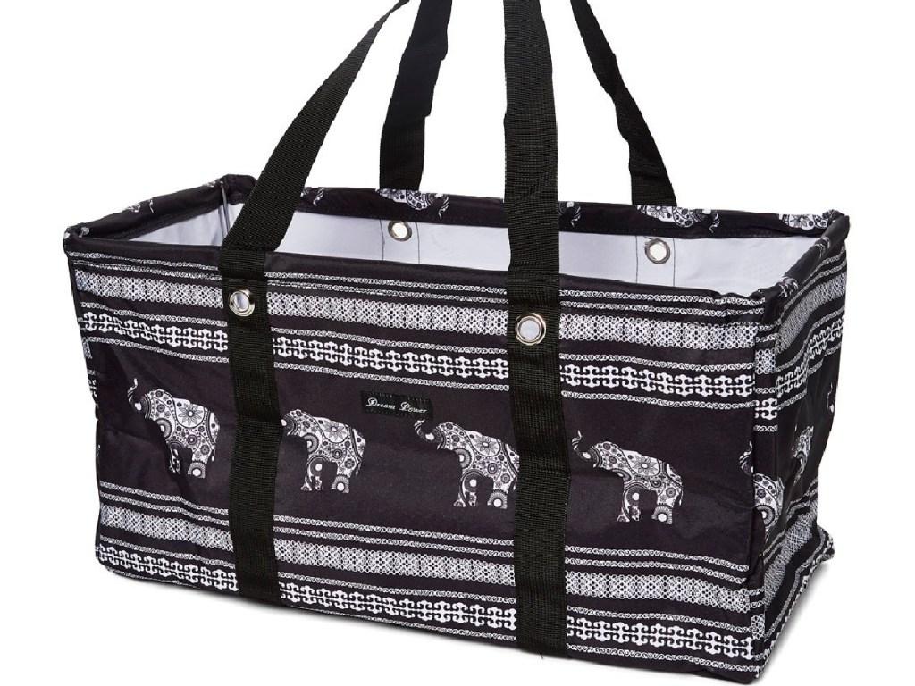 black and white elephant print utility tote bag