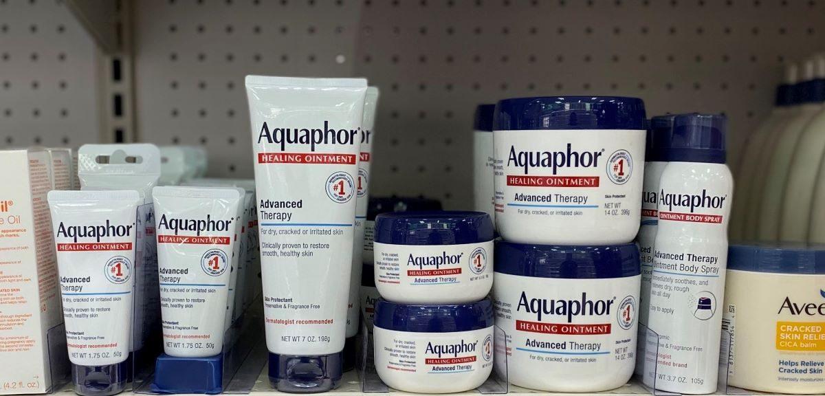 display of Aquaphor products at Target