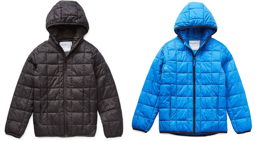 black and blue boys packable puffer jackets
