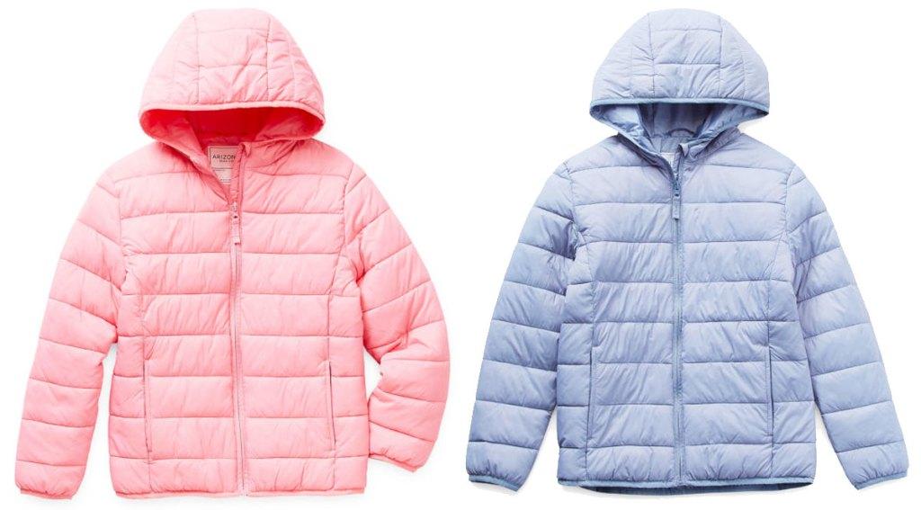 light pink and light blue girls packable puffer jackets