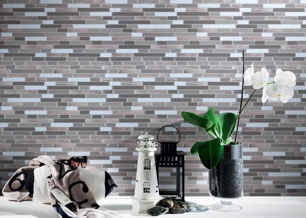 neutral colored peel and stick tiles on wall