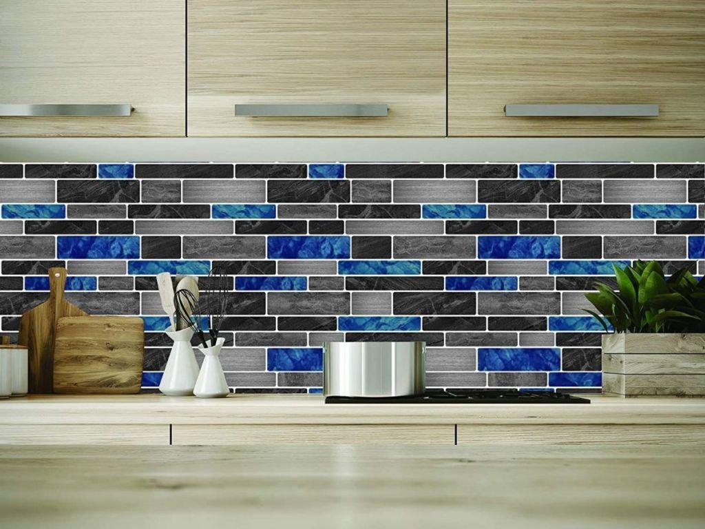 blue black and gray marble tile backsplash in kitchen