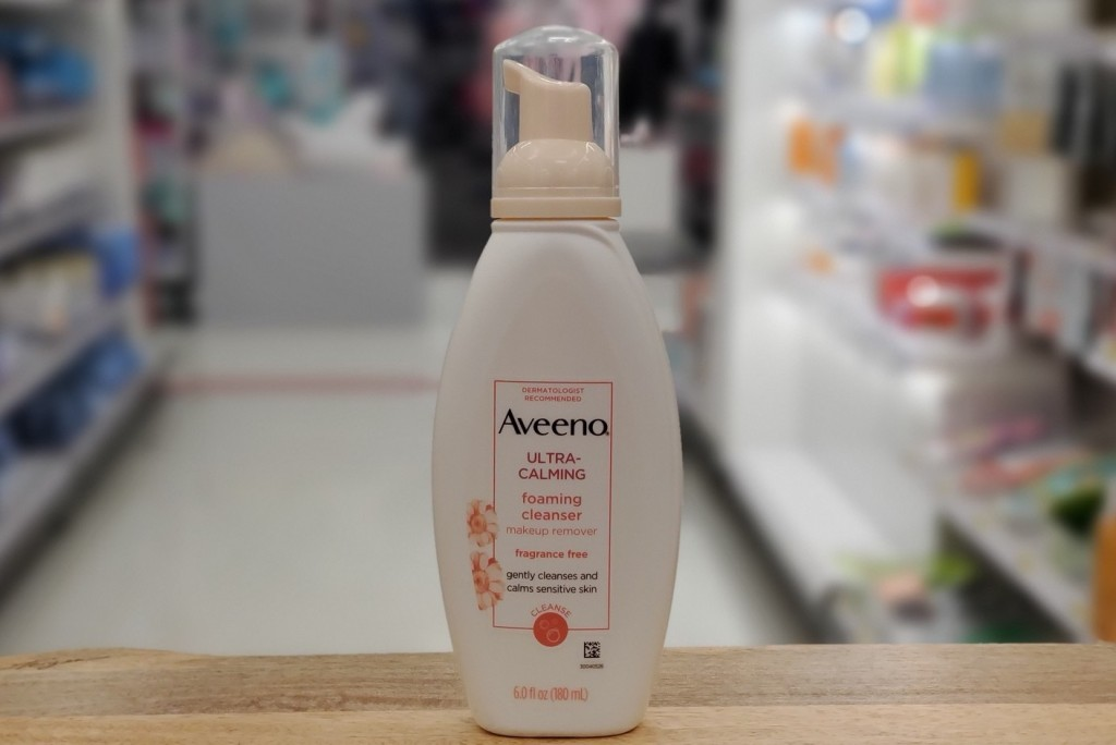 Aveeno Foam Cleanser on store counter