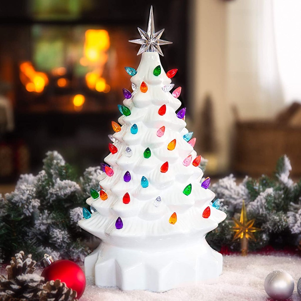 ceramic tree with lights on a table
